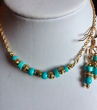 Antique Golden  Turquoise Jewelry Set Wit