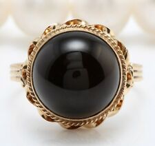 3.10 Carat Natural Black Onyx in 14K Yellow Gold Women Ring