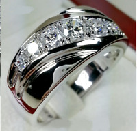14K White Gold Over 2.00 Ct Round Cut Diamond Mens Engagement Ring Wedding Band