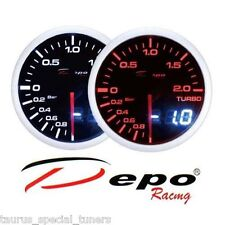 Manometro Pressione Turbo -1 +2 bar tuning DEPO Racing Dual View sfondo Nero