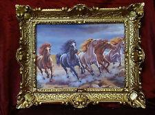 Wunderschönes Gemälde Bilder Barock Antik Repro Rahmen Pferde 56x46 cm 64