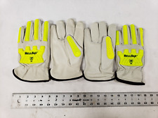 Lot Of 2 Pairs Hellbax Gray Yellow Ansi A5 Cut Leather Safety Work Gloves