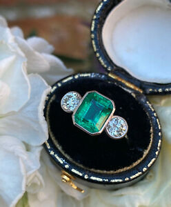 Emerald and Diamond Three Stone Platinum Ring 0.72ct + 2.35ct