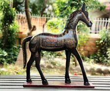 Wood Horse Old Collectible Statue Unique Hand Painted Indian Home Decor Art
