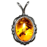 3.95g Authentic Baltic Amber 925 Sterling Silver Pendant Jewelry N-A489