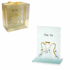 Christmas Wishes Glass Angel with Heart in Gift Box - Gold