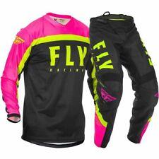 "Fly Racing 2020 F-16 Motocross Jersey & Pants Neon Pink Black Kit MX 32"" MLarge"