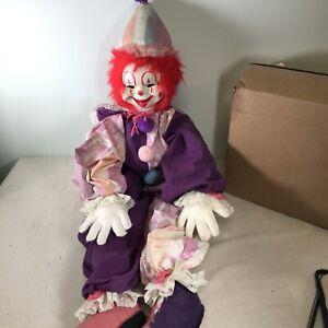 """Vintage Clown Rubber Face Stuffed Plush 36"""" Creepy Clown Doll Cute Red Hair"""