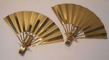 Polished Brass Metal Fan Wall Sconces - Set of 2