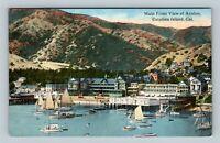 Catalina Island CA, Main Front View Avalon Harbor, Vintage California Postcard