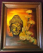Irene Rimmer 1960s Enamel on Board  - Female Buddha and Flowers