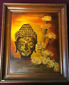 Irene Rimmer 1960s Enamel on Board  - Female Buddha and Flowers