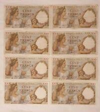 BILLETS de banque x 8 de 100 FRANCS SULLY, Années 39, 40, 42