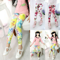 1-12 Years Girls Kids Pants Leggings Floral Printed Elastic Trouser Soring Fall