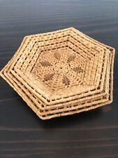 New ListingVintage Woven Wicker Bamboo Baskets Round Nesting Boho Wall Baskets Set-4