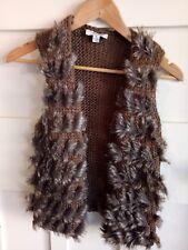 MISS SHOP S Knit Faux Fur Vest Boho Hippy