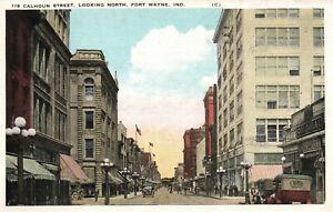 Fort Wayne, Indiana, Calhoun Street, Looking North, 1923 - Postcard (D1)