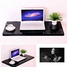 Indoor Black Wall Mount Floating Folding Computer Desk Home Office PC Table