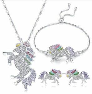Unicorn Jewelry Set For Girls Kids Necklace Earrings Stud Bracelet Horse Fashion