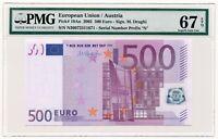 EUROPEAN UNION (AUSTRIA) banknote 500 Euro 2002 PMG MS 67 EPQ Superb Gem Unc