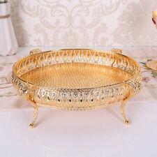 Rectangular Round SERVING TRAY Vintage Metal Vanity Food Platter Wedding Decor