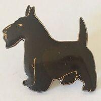 Scottie Dog Pinback Vintage Lapel Pin Hat Badge Black Gold Scottish Terrier