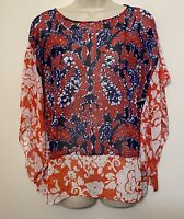 Michael Kors Small Medium Kimono Blouse Red Blue Floral Winged Sleeve Top