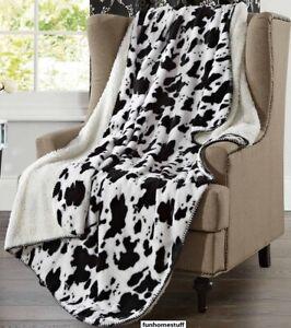 COW SKIN Super Soft Faux Fur Oversized Twin Luxury Sherpa Throw Blanket 50x70 in