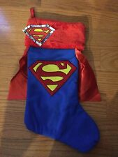 NWT Superman Christmas Stocking Blue w/ Red Cape