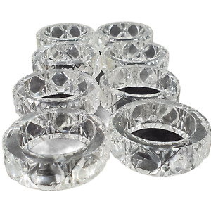 Set 8 Napkin Rings Heavy Crystal Multi Faceted Dining Table Decor