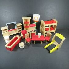Plan Toys Ryans Room Melissa Doug & other Wooden Doll House Furniture Lot #2