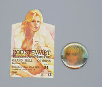 Rod Stewart original beautiful 1978 Blondes Ave More Fun tour Ticket + Button