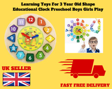 Learning Toys For 3 Year Old Shape Educational Clock Preschool Boys Girls Play