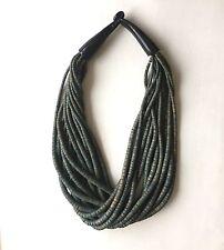 Vintage Danish Monies Gerda Lynggaard Necklace Choker Green Stranded Wooden old