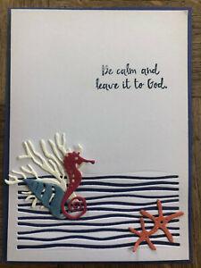 Stampin Up retired LILYPAD LAKE stamps, Dies & SEA HORSE, SHELLS Coral Ocean die