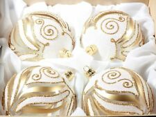 Luxury set (4) hand blown glass gold white crystal Christmas tree baubles