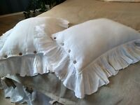 Ruffled LINEN PILLOWCASE with Button Closure around Pure Flax Pillow Sham