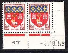 FRANCE COIN DATE BLOC DE 2 TIMBRE NEUF N° 1182 toulouse variete couleur