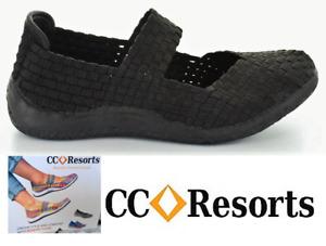 CC Resorts cloud comfort elastic slip on walking shoe Sammi - Black