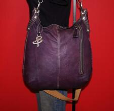 B.MAKOWSKY Large Purple Leather Shopper Convertible Hobo Carryall Tote Bag Purse