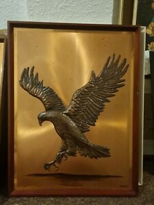 Vintage Copper Picture Framed Eagle Great Looking Large Picture