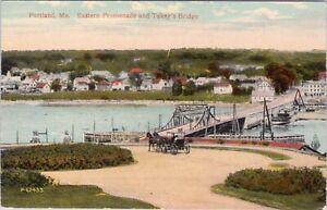 DB postcard c1912, Eastern Promenade and Tukey's Bridge, Portland, ME