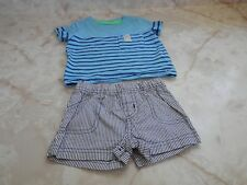 Baby Boy 3 Months Carters Short Sleeve Blue Top & Striped Shorts Set