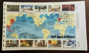 1944: Road To Victory FDC 29 Cents Plate Block of 10 US Stamps
