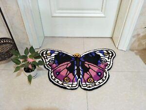 Butterfly Embroidered Mats Door Washable Bath Mat Bath Rugs Handmade Home Decor