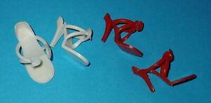 """Vtg 1950's Doll Shoe Red & White 2 Pairs High Heels 1"""" for JILL Revlon"""