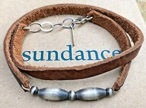NEW $118 Sundance Double Wrap Leather Sterling Silver Adjust. Bead Bracelet NWT
