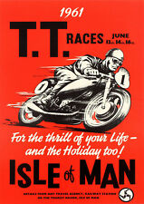 Reproduction Vintage Motorcycle Poster, Isle Of Man TT 1961, Wall Art
