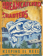 Dreamcatcher Fishing Charters Metal Sign, Large Mouth Bass, Mountain Lake Decor