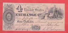 1837 $4 SCARCE United States Exchange Co. (UNC) Obsolete!    x2a